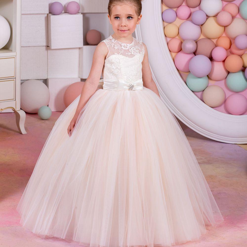 Click to Buy << Fancy Vestidos de Communion Sleeveless Ruffles Bow ...