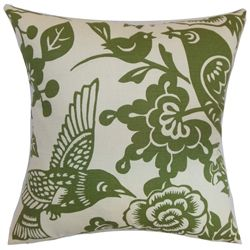 """Bold and unique, this striking decor pillow will add a different dimension to your space. This accent pillow features a flora and fauna print in moss green and set against a white background. Decorate this floral throw pillow in your living room, bedroom, nook or floor. This 18"""" pillow is made from 100% soft and plush cotton fabric. $55.00  #pillows  #tosspillow  #floralprint"""