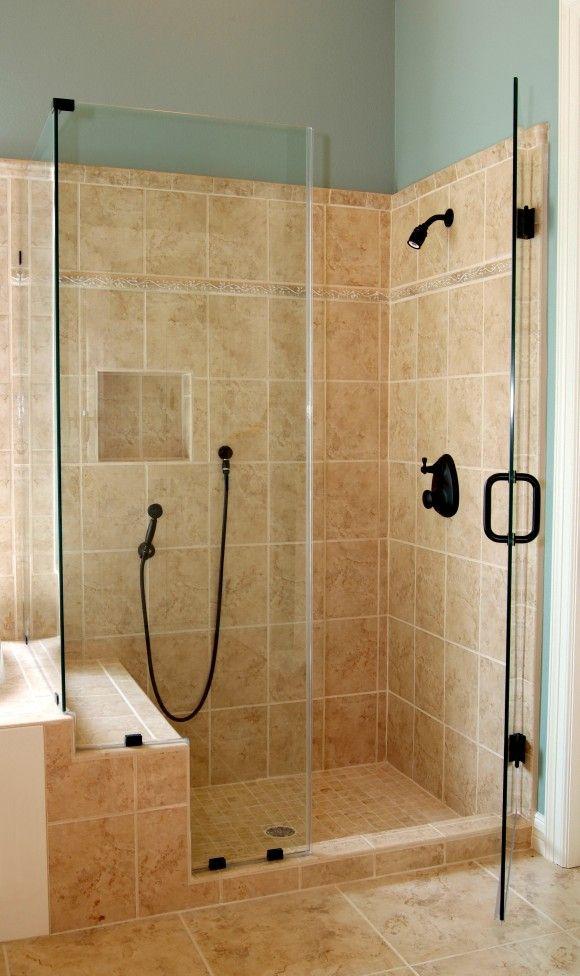 Bathroom. Corner Glass Shower Enclosure With Black Door Handle And ...