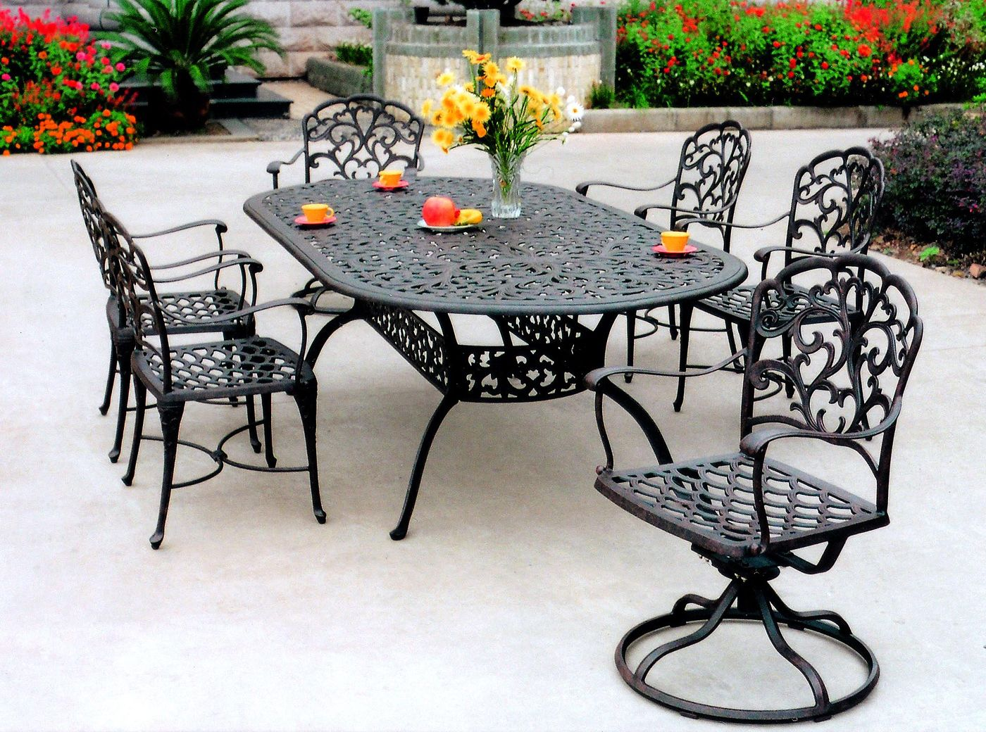 Largest Black Cast Iron Patio Sets