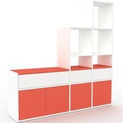 Photo of Regalsystem weiß – Regalsystem: Schubladen in Weiß und Türen in Rot – hochwertige Materialien – 154 x
