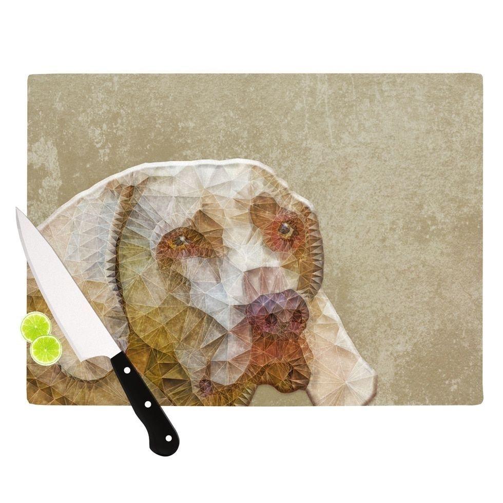 Kess InHouse Ancello 'Abstract Dog' Brown Geometric-design Cutting Board