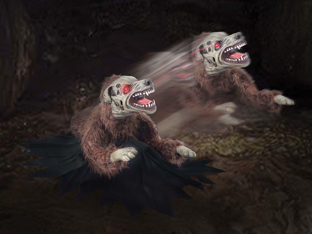 LUNGING MAD DEMON DOG Animated Halloween Animatronic Jumping