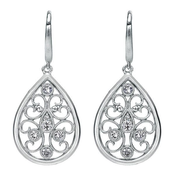 Silver Antique Pear Drop Diamond from Earrings Steven Singer Jewelers- $449