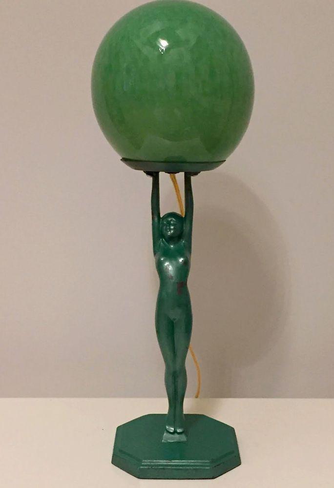 Art Deco Nude Lady Lamp With Glass Globe Art Deco Art Nouveau