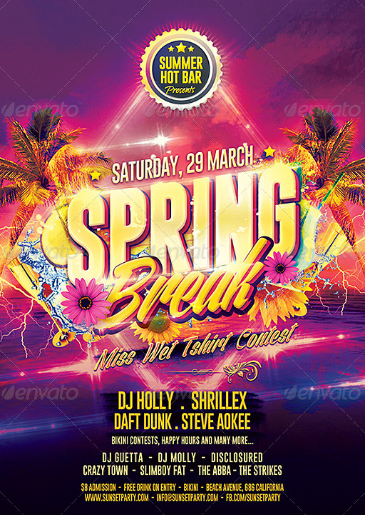 Spring Party Flyer | Spring Break Party Flyer Party Flyer Templates For Clubs Business