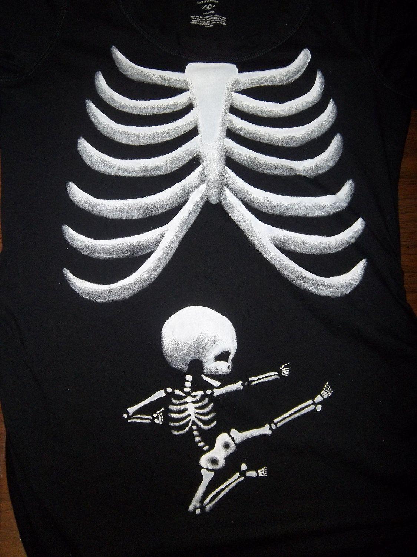 fe7b57ed0982d Long Sleeve - Ninja and Poke Skeleton Baby (with Moms Ribs) Maternity Tee  Shirt. $42.00, via Etsy. Ninja Baby Pregnant Halloween ...