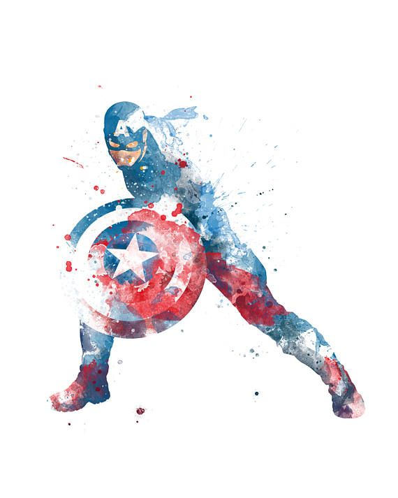 Captain America Print Watercolor Poster Captain America Art Print Printable Kids Nursery Decor Superhero Gift Instant Download Wall Art