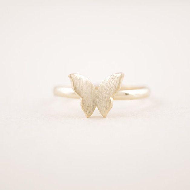 anillo de plata del anillo de la mariposa