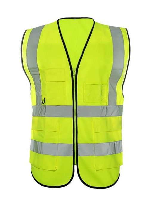 Workplace Safety Supplies Safety Clothing Fashion Style High Visibility Yellow Vest Reflective Safety Workwear For Night Running Cycling Man Night Warning Working Clothes Fluorescent