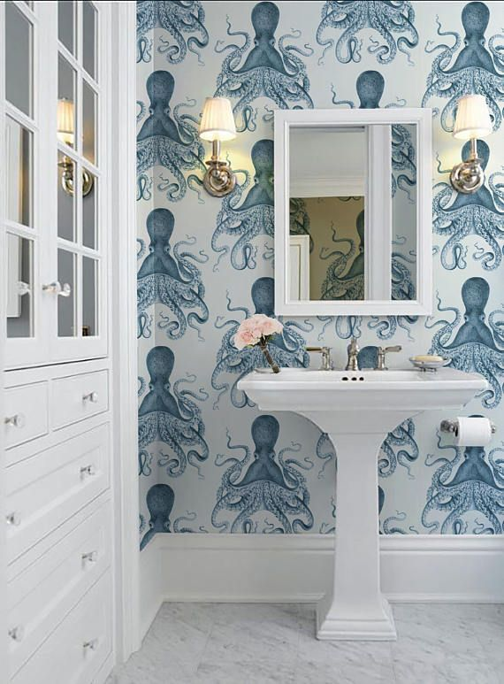 Octopus Peel N Stick Wallpaper Indigo Or Color Of Your Choice