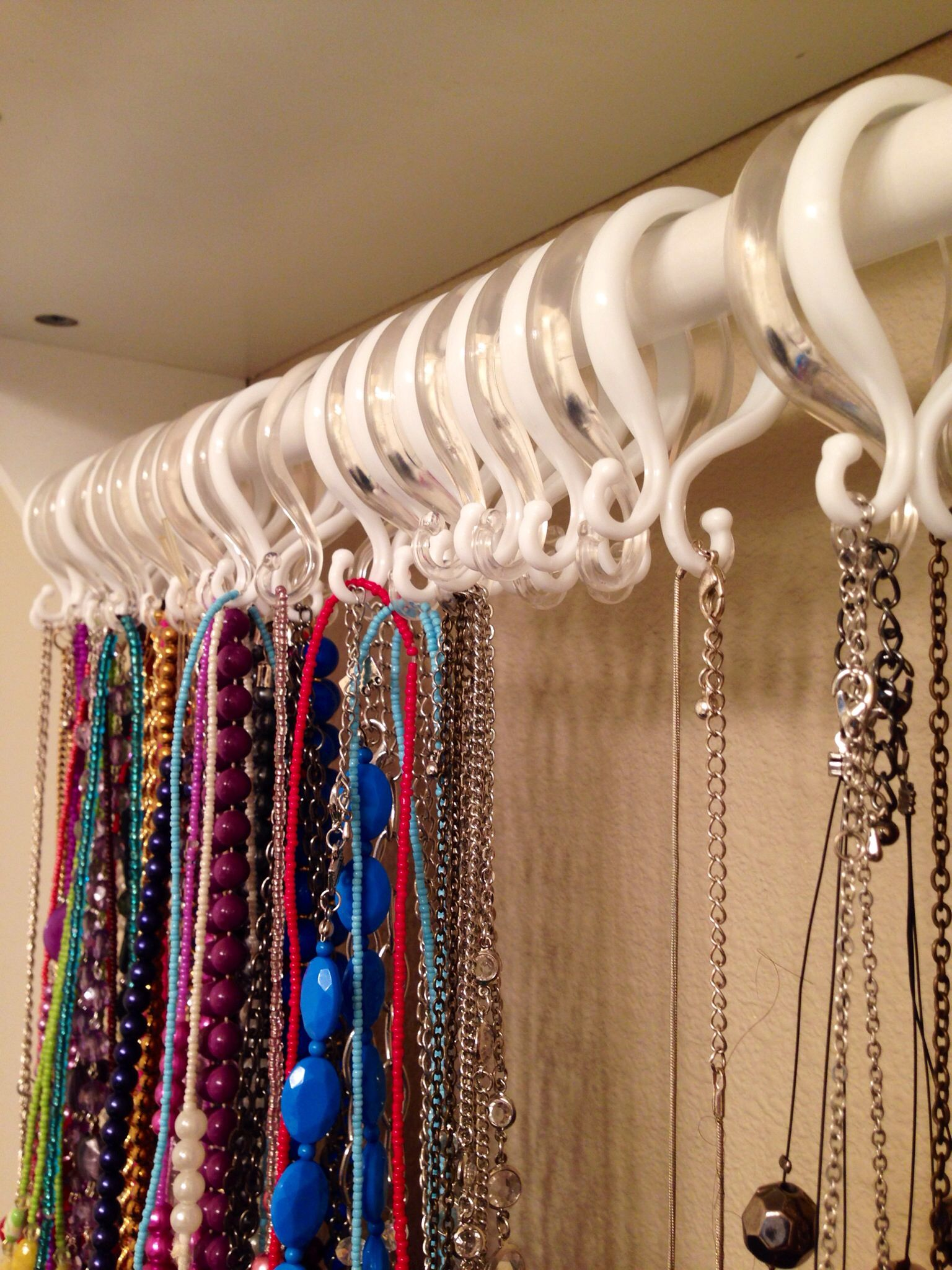 A Closer Look I Used Shower Curtain Rings I Found At Big Lots Totaling A Whopping 12 To Hang My Enormo Shower