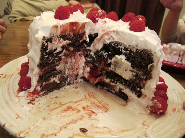 raspberry and cream chocolate layer cake!