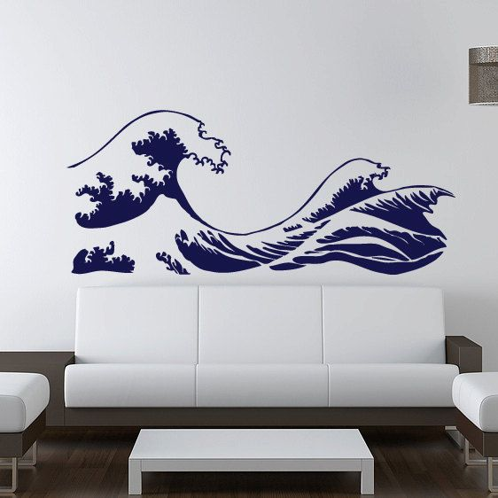 kanagawa wave wall decal - hokusai - vinyl sticker | rooms | wall