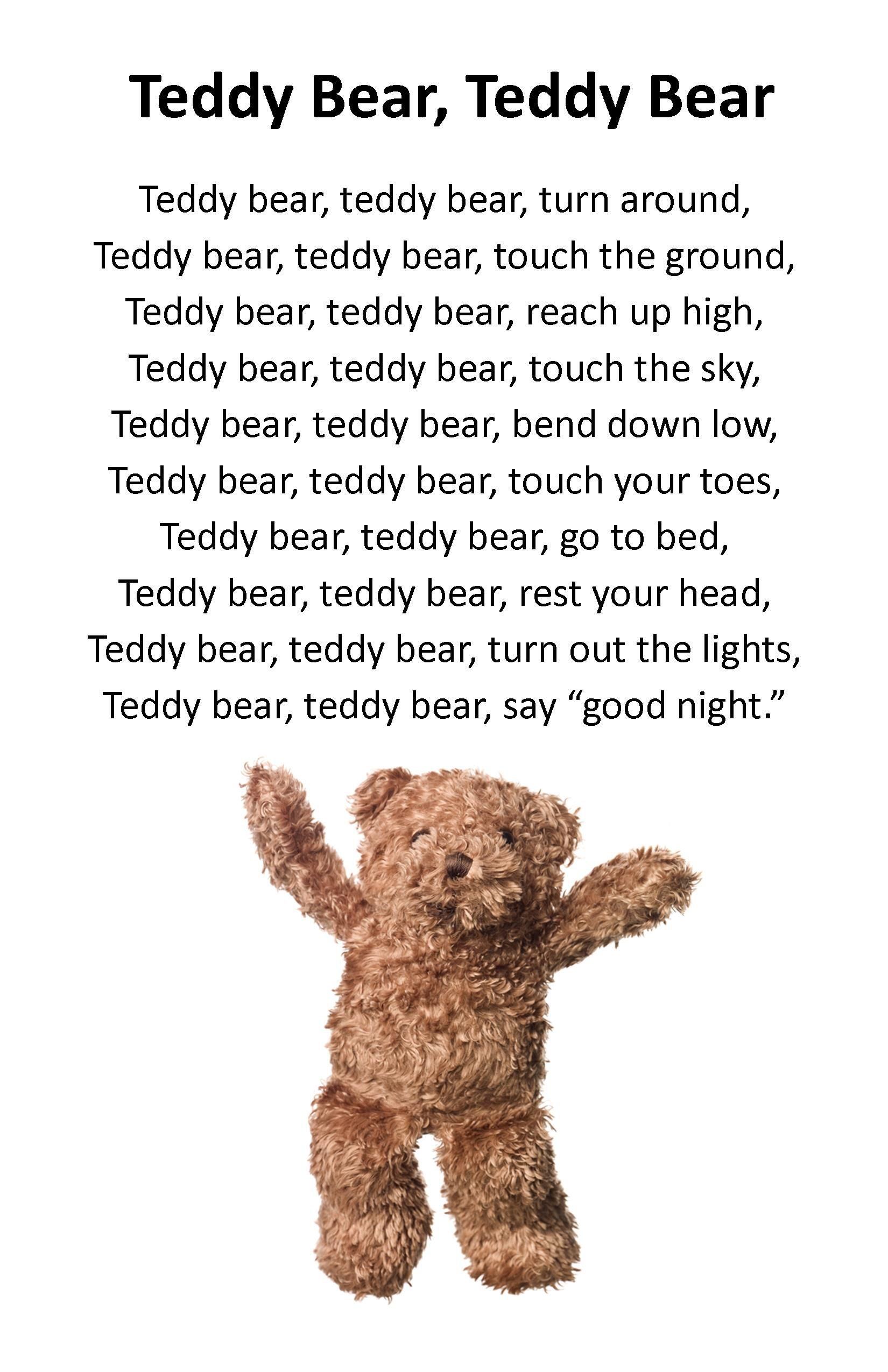 itty bitty rhyme teddy bear teddy bear itty bitty u0026 preschool
