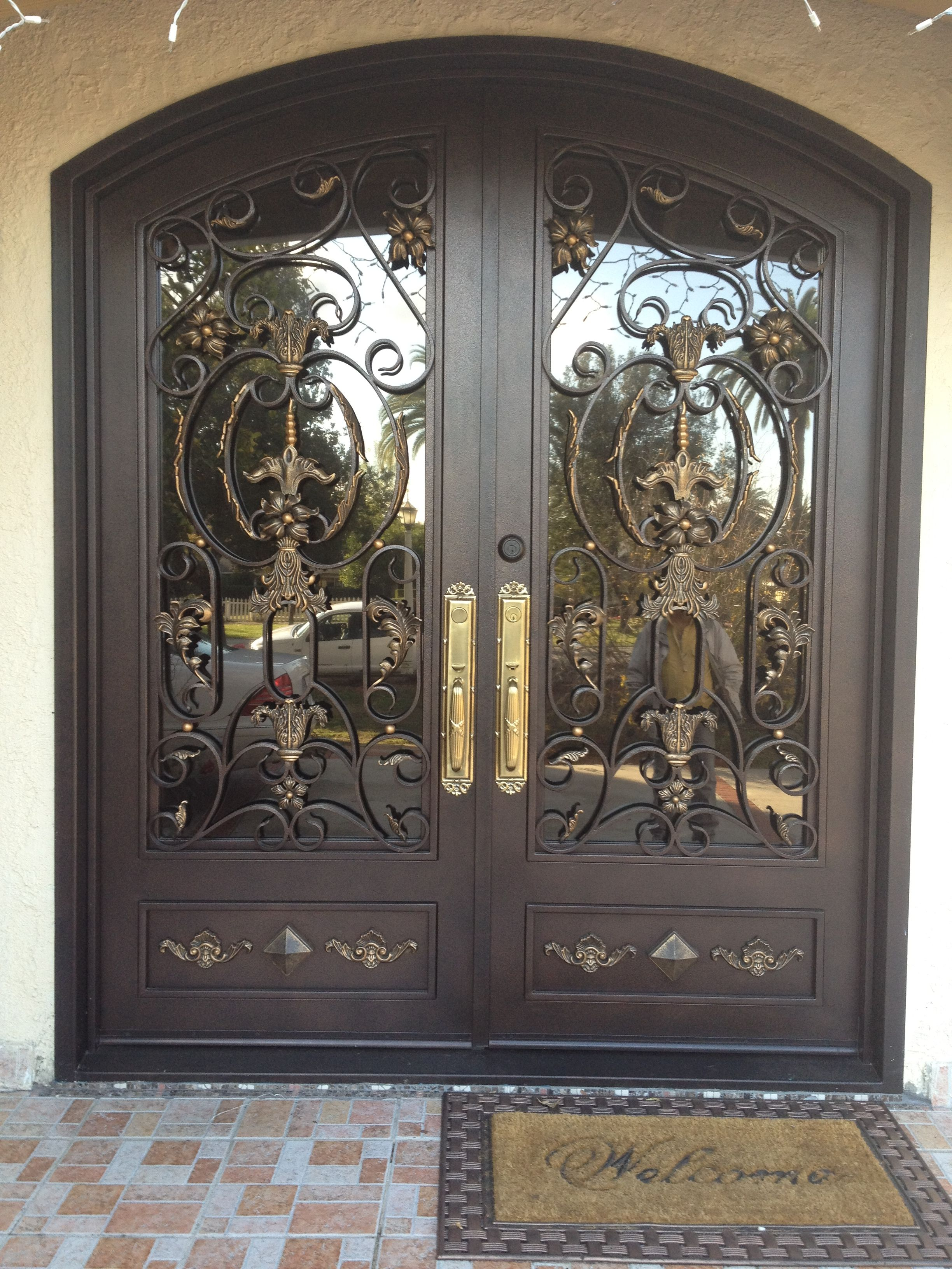 wrought iron front doorsExterior Nice Black Double Entry Door With Glass And Wrought Iron