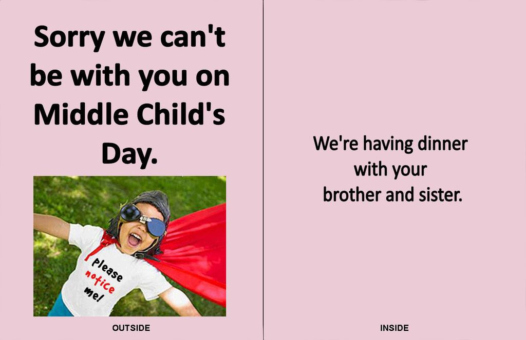 Presenting Middle Child's Day Greeting Cards #middlechildhumor