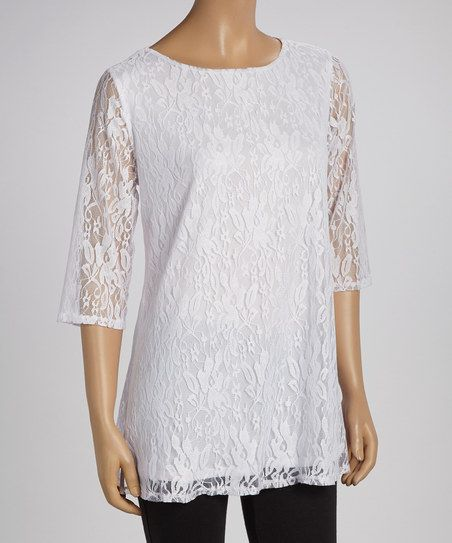 White Lace Three-Quarter Sleeve Top. Plus Size. Zulily