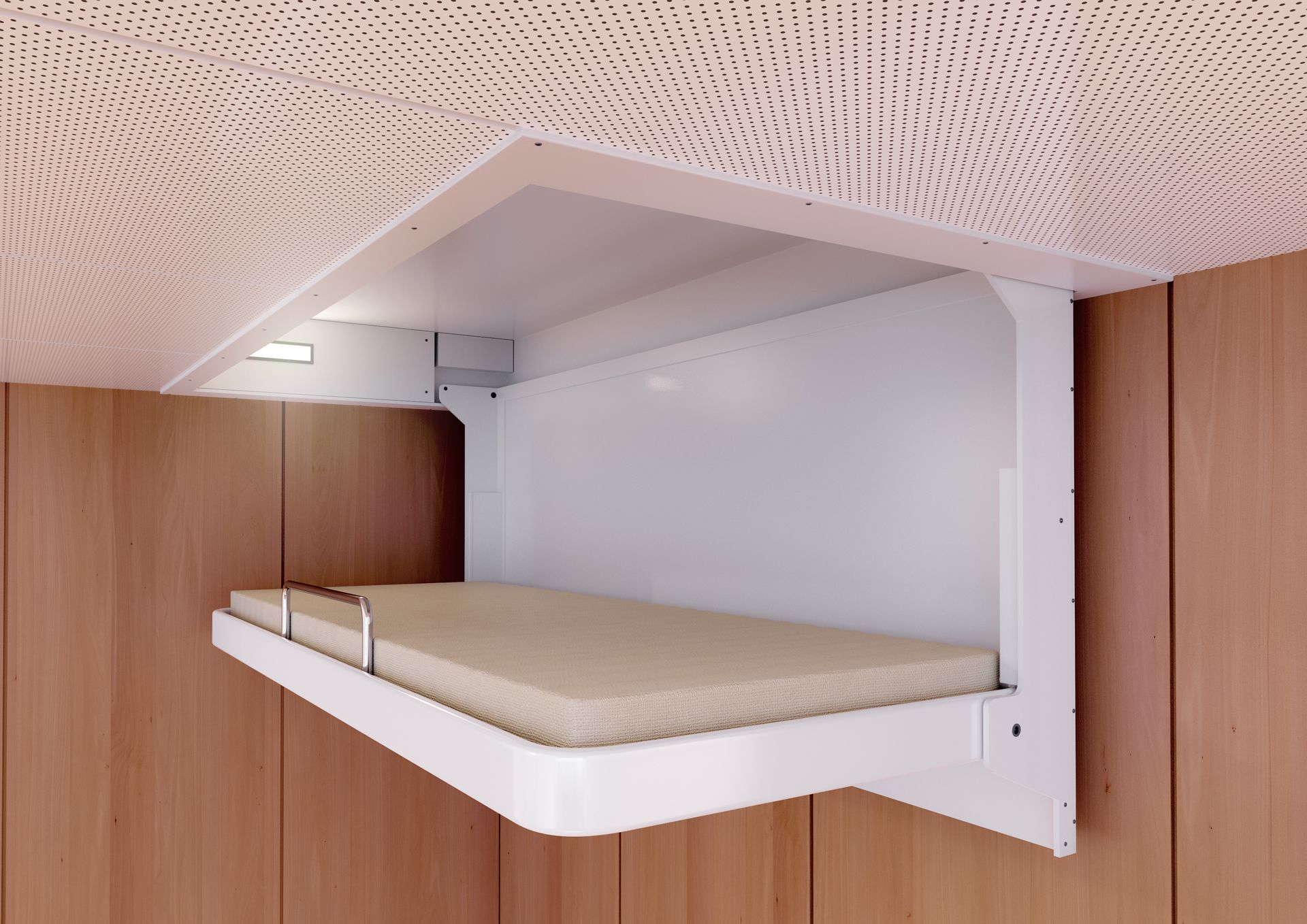 Unique Folding Ceiling Mounted Bed With Wooden Wall Decor Idea