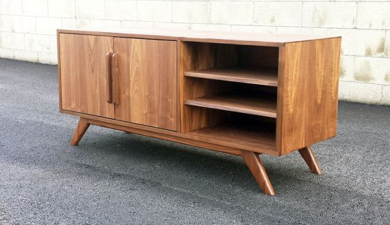 Mid Century Modern Tv Console Credenza Tv Stand Mcm Modern Minimal Record Playe Mid Century Modern Tv Stand Mid Century Modern Tv Console Modern Tv Stand