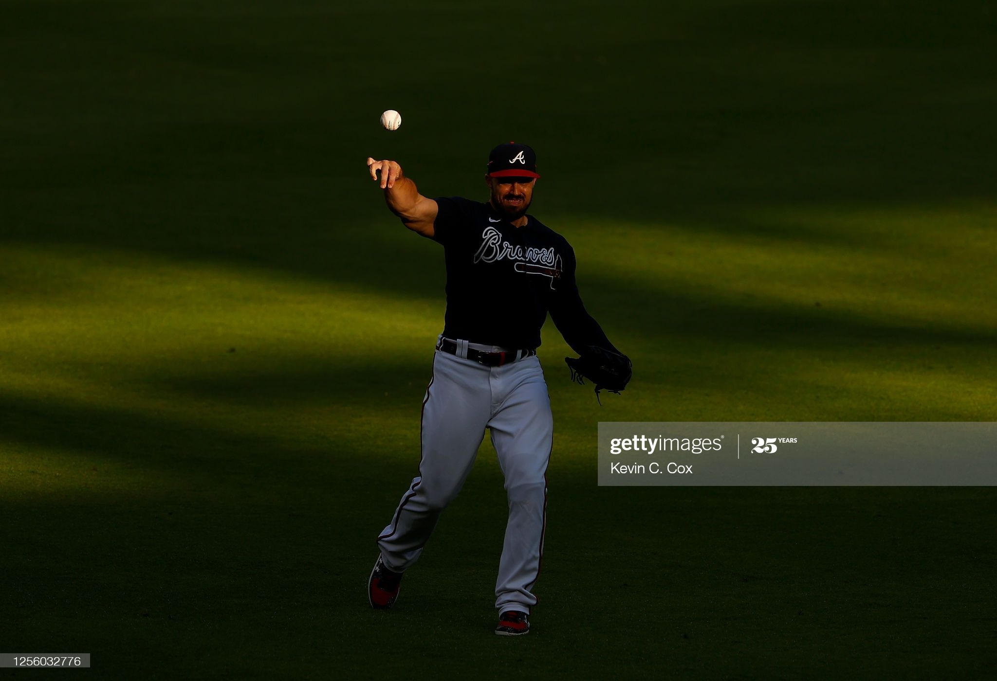 Adam Duvall Of The Atlanta Braves Warms Up Prior To The First In 2020 Atlanta Braves Braves Atlanta