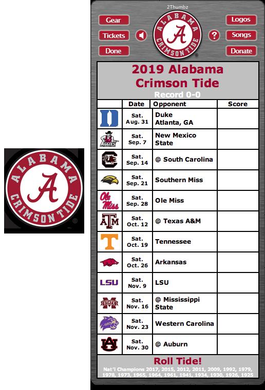 Get your 2019 Alabama Crimson Tide Football Schedule