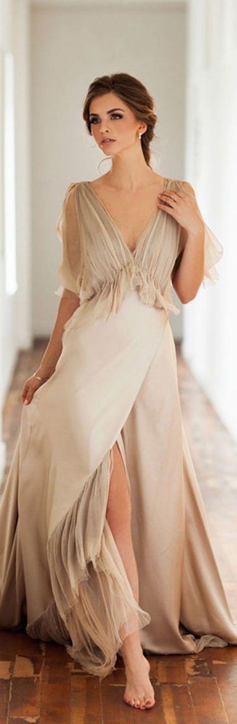Designer taupe cocktail dress