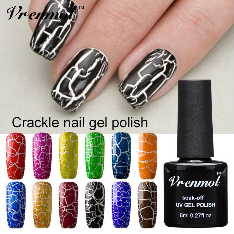 Vrenmol 1pcs Cracking Nail Varnish New Arrival 12 Colorful Gel ...