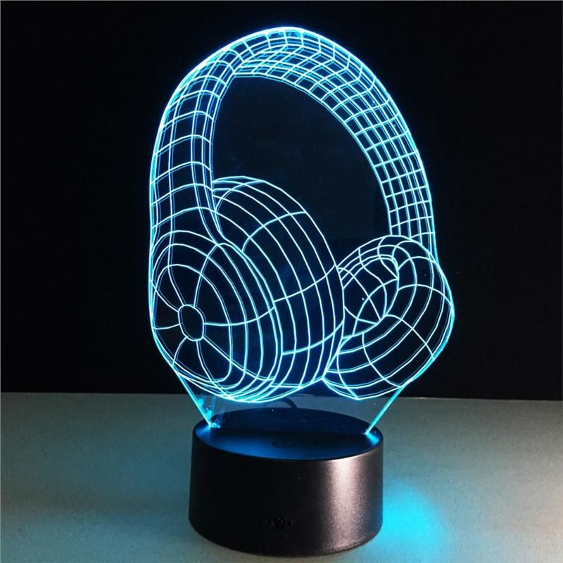 3d Headset Lamp Visual Light Effect Touch Switch Remote Control Colors Changes Night Light Led Interiordesign Interiordesignideas Interiors I Led Musica