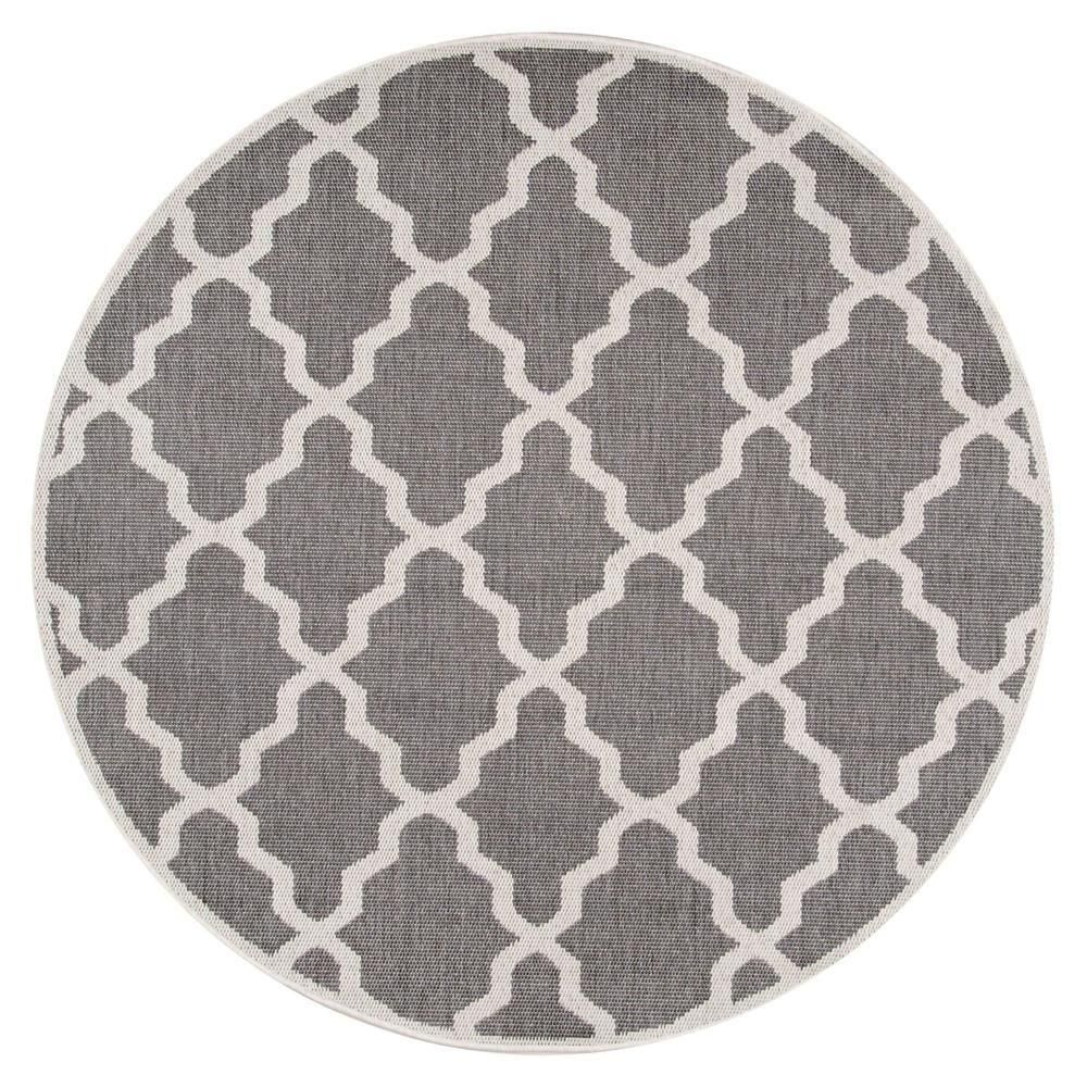 Gina Moroccan Trellis Grey 6 ft. 3 in. x 6 ft. 3 in. Round Outdoor Area Rug