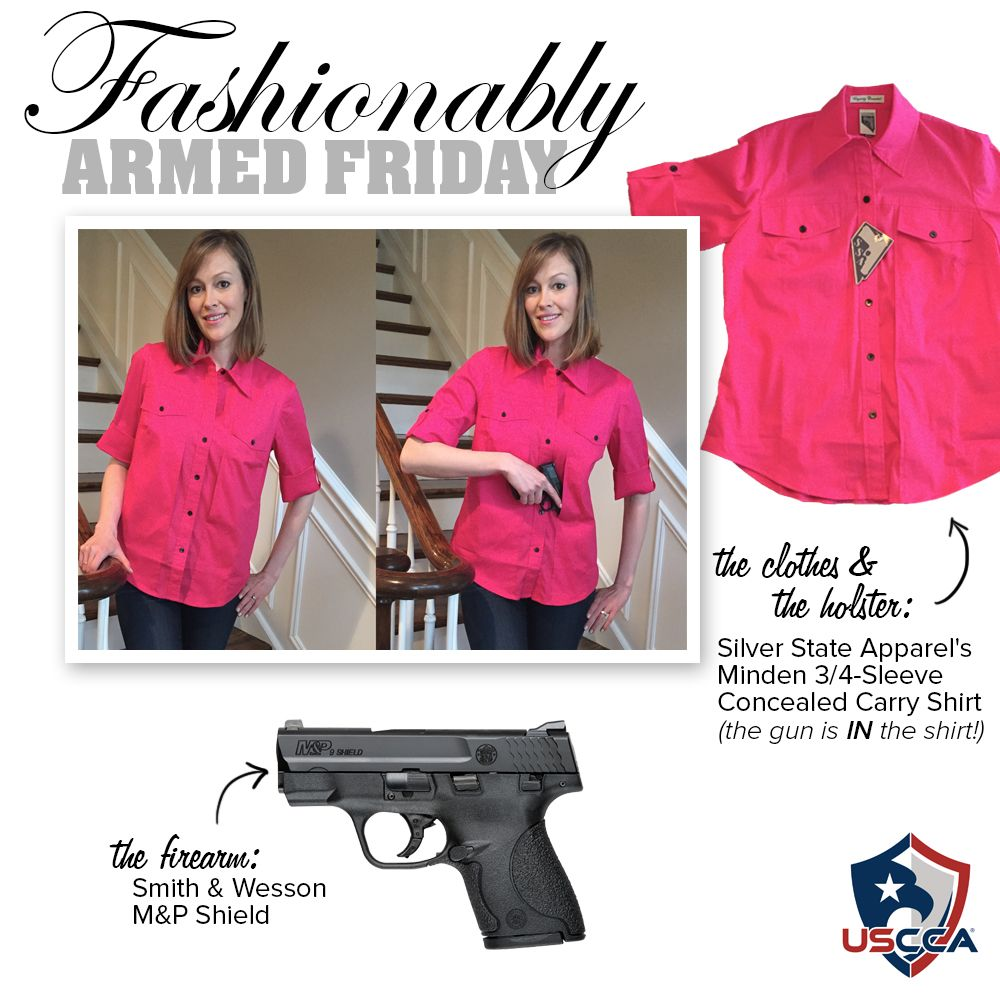 Ladies, It's easy to assume that you need to give up a fashionalbe wardrobe in order to carry your firearm, on your person. Hopefully with Fashionably Armed Friday, we will be able to prove how easy it is to stay fashionable AND be safe. Check back each Friday for more fun and fashionable gun and holster outfit combinations!   Today, President and Founder of Nickel and Lace, Marilyn Smolenski conceales a Smith & Wesson M&P Shield firearm inside her Silver State Apparel Miden 3/4-Sleeve…