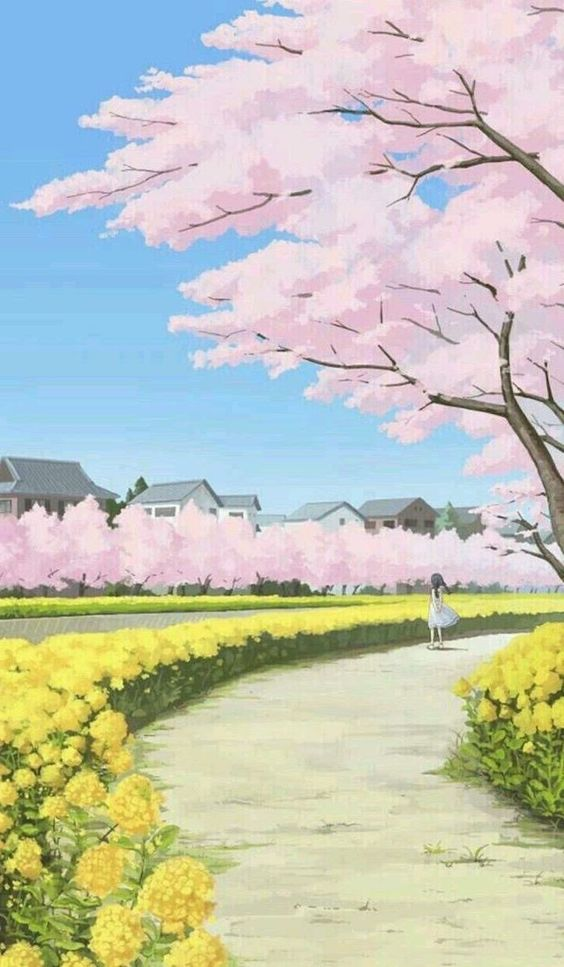 49 Best Ideas About Floral Phone Wallpaper For Women And Girls Page 45 Of 49 Veguci Beautiful Landscape Paintings Anime Scenery Spring Wallpaper