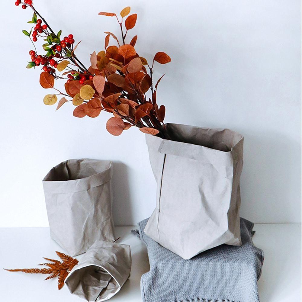 Washable Kraft Paper Bag Plant Flowers Pots Multifunction Home