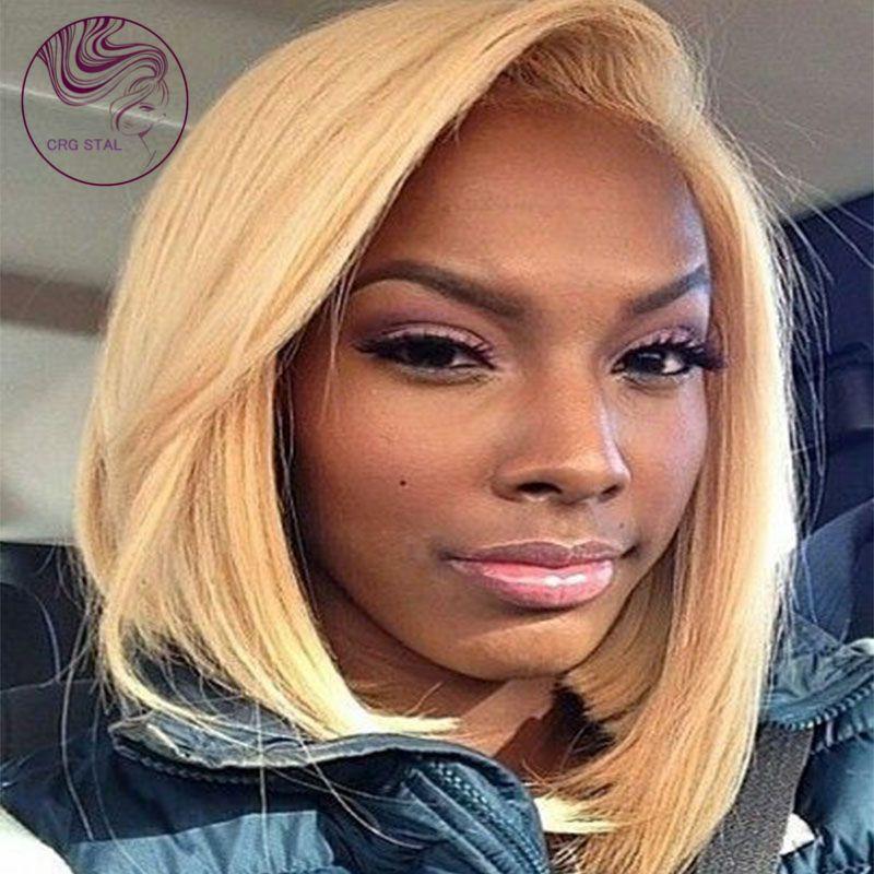 Top Short Blonde Human Hair Wigs Glueless Bob Full Lace Human Hair