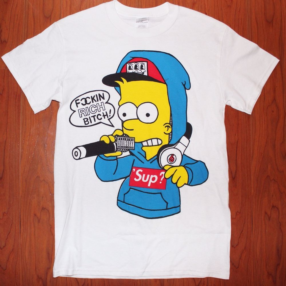 6f57576c6340 Bootleg Round Two Bart Simpson Supreme Vintage T Shirt Men's Size Small Hip  Hop | eBay