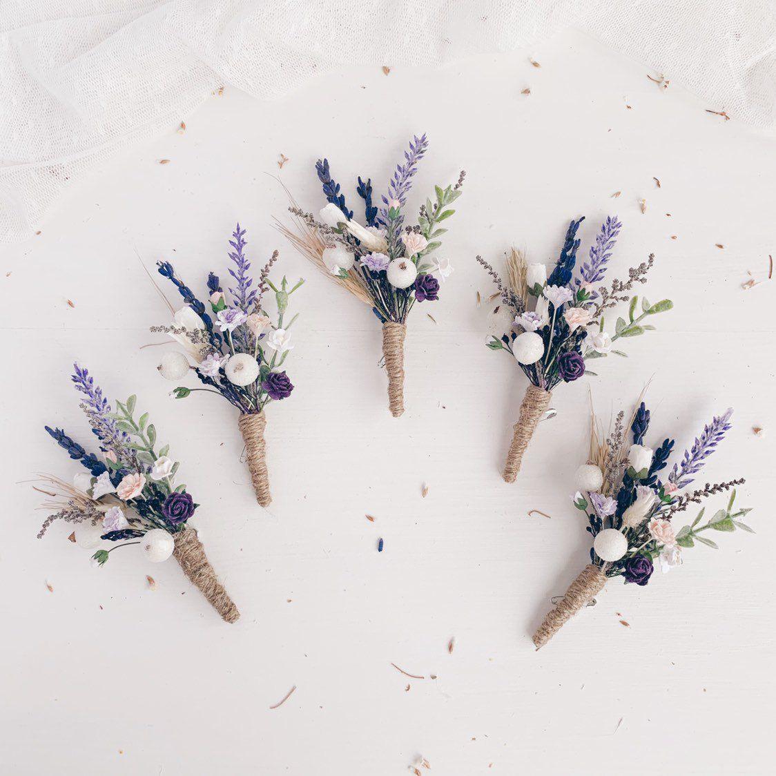 Lavender boutonniere, Lilac Button hole, Purple White Groomsman boutonniere, Summer wedding, Rustic wedding, Fiance boutonniere #purpleweddingflowers