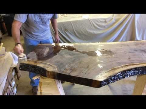 Live Edge Slab Table How To Finish And Coat Youtube Slab Table Live Edge Wood Slab Table Black Walnut Table