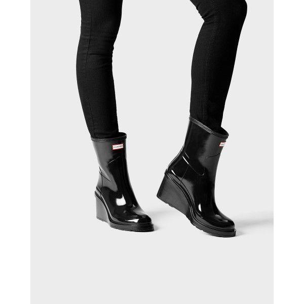 0fe9ff839b48 Hunter Women s Original Refined Wedge-Sole Gloss Boots Black - Hunter Boots   rainday  hunter  hunterboots  ss17