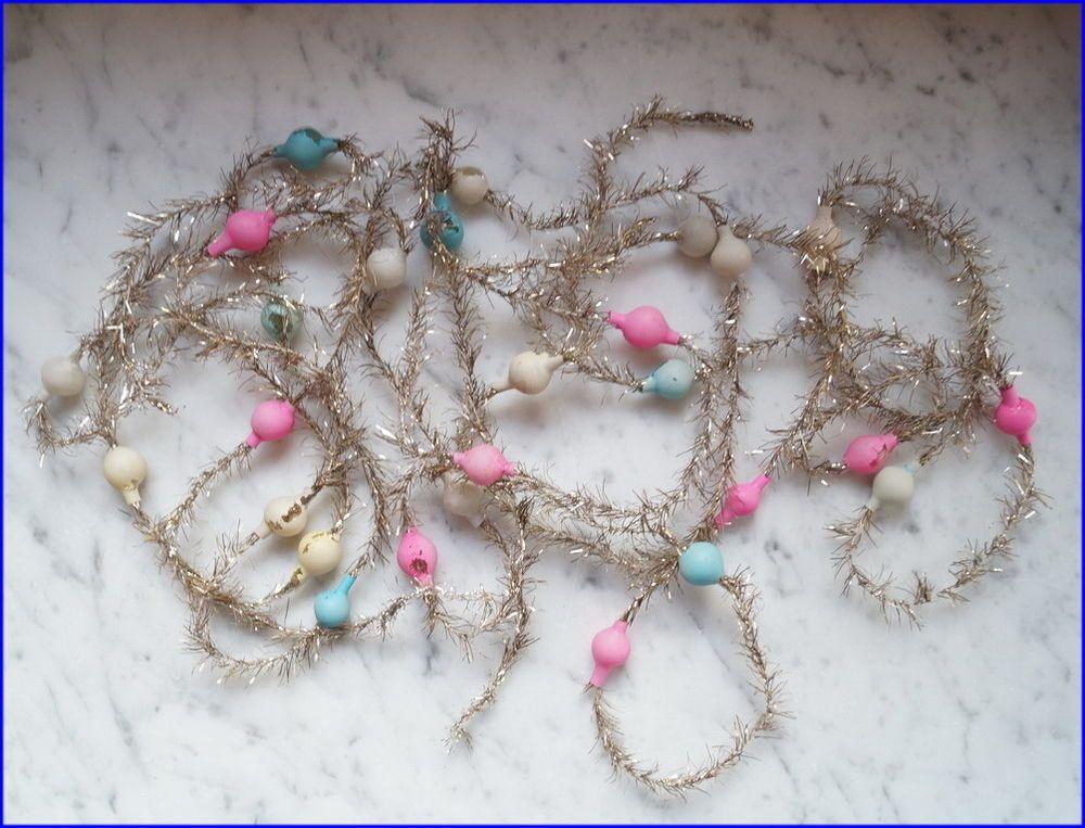 Alter Tinsel - 3 x Tinselkette mit  Lauscha Glaskugeln - 420 cm  (# 6597)