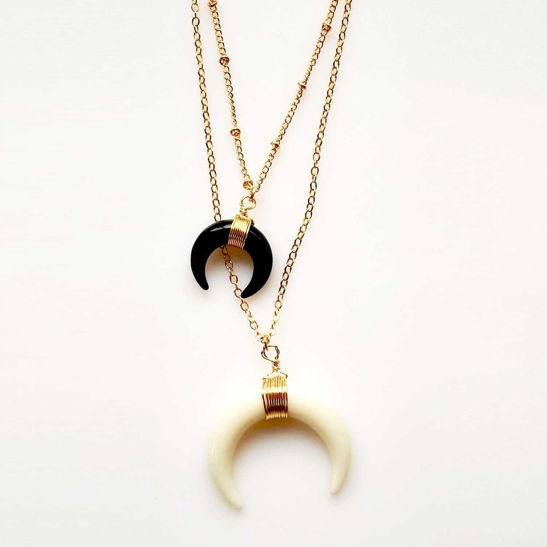 Handmade double horn crescent pendant necklace set black u ivory