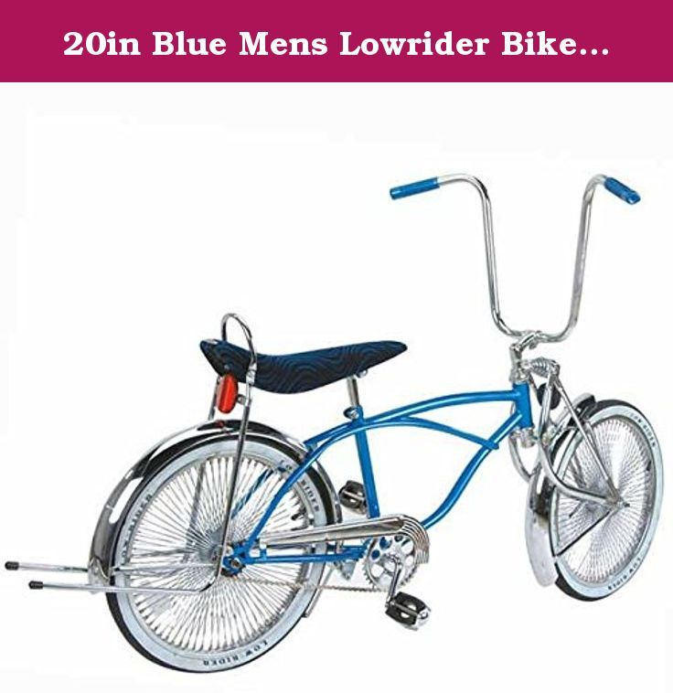20in Blue Mens Lowrider Bike Blue Banana Seat And Black W White