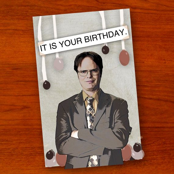 Dwight Schrute The Office Birthday Card By Ohlookitsartsy On Etsy