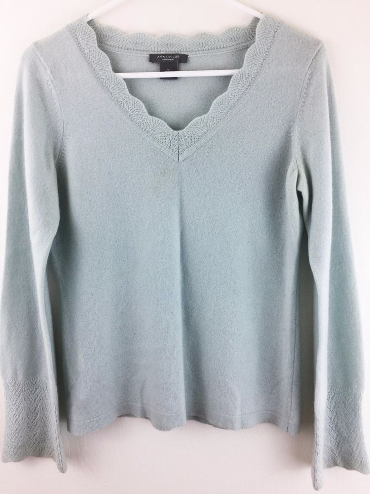 Ann Taylor Med 100% Cashmere Sweater Light Blue Scalloped V-Neck ...