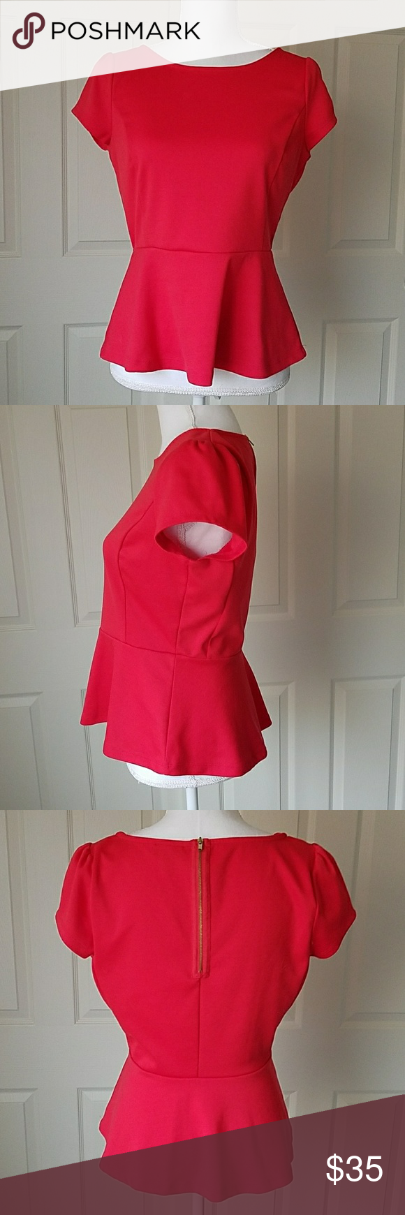 The Limited Red Peplum Top Size M | Red peplum tops, Office ...
