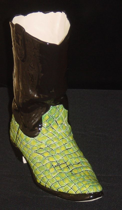 Crocadile Skin Cowboy Boot Fun For Any Party Ceramic Cowboy Boot