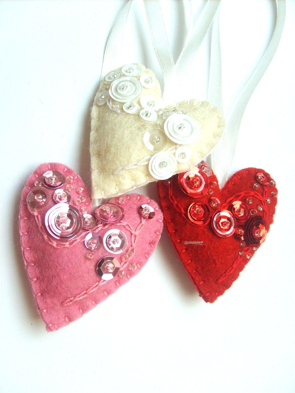 Felt heart ornament Red heart decoration Beaded Christmas ornaments Beaded felt heart