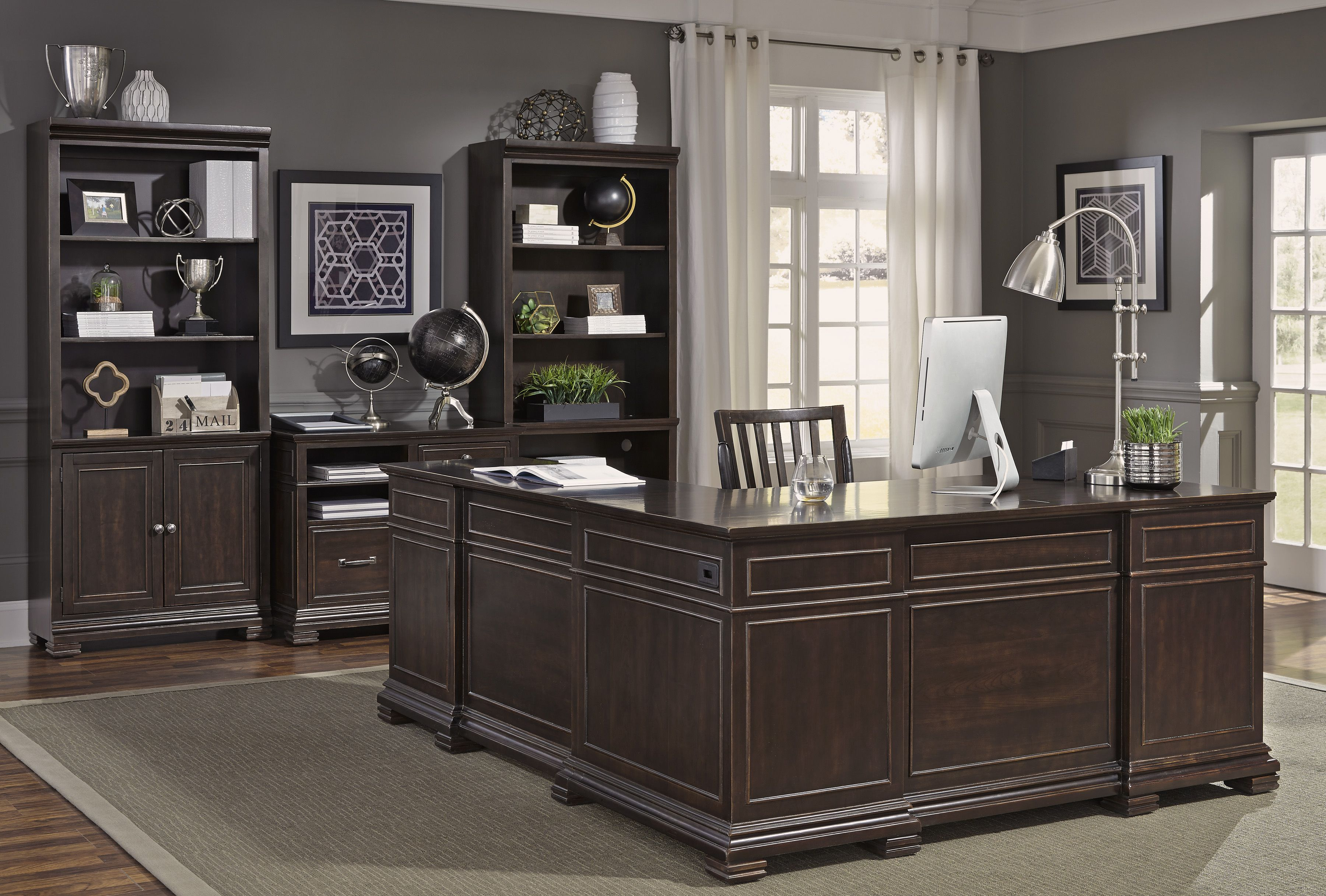 Cognac finish on Acacia veneer accented with antiqued pewter