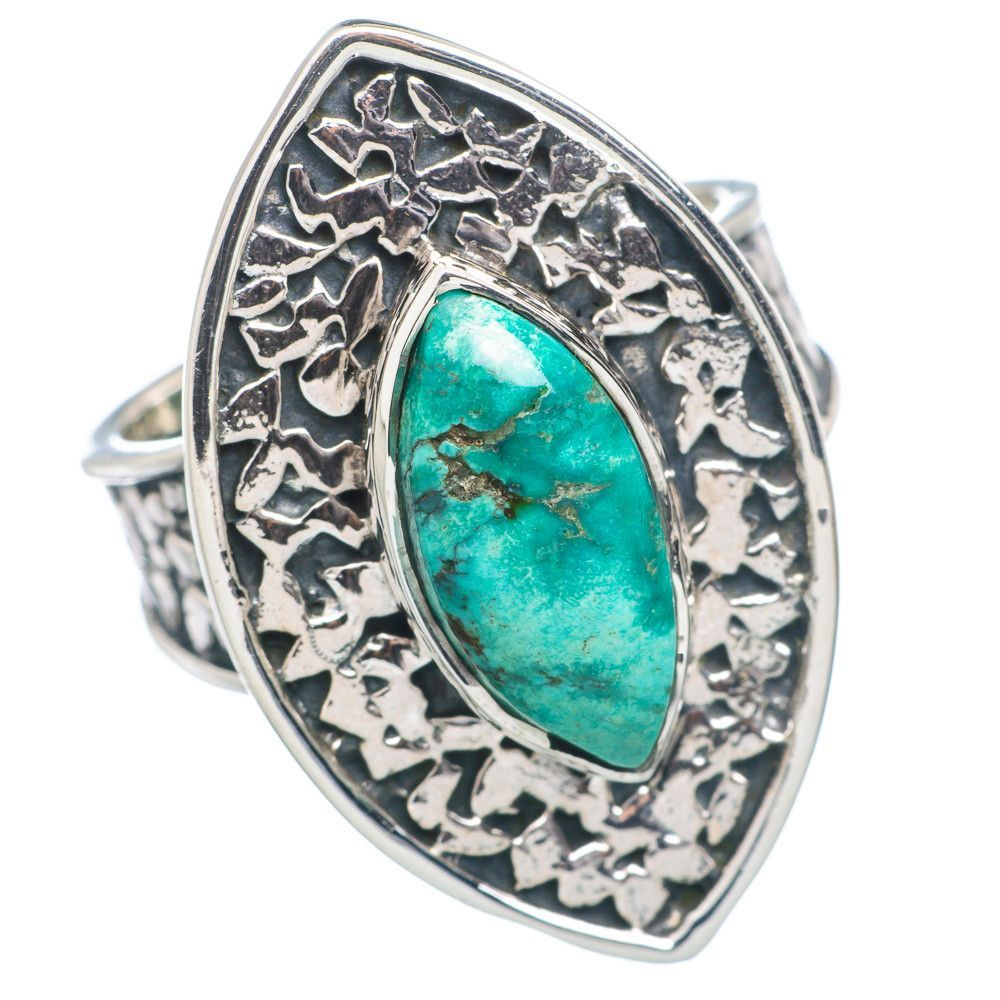 Tibetan Turquoise 925 Sterling Silver Ring Size 7.25 RING722011