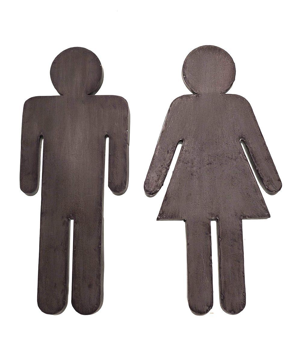 Bathroom People Metal Sign - Set of Two | Bathroom door ...
