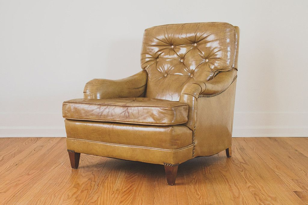 Vintage Schafer Brothers Yellow Distressed Leather Club Chair   English  Roll Arm Style, Brass Nailhead Trim, Dark Wood Legs